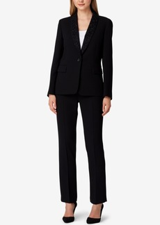 Tahari Asl Embellished Collar Pantsuit