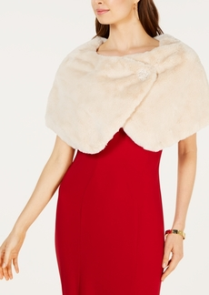 Tahari Asl Embellished Faux-Fur Capelet