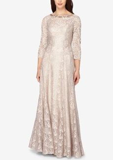 Tahari Asl Embellished Lace V-Back Gown