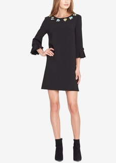 Tahari Asl Embellished-Neck Shift Dress