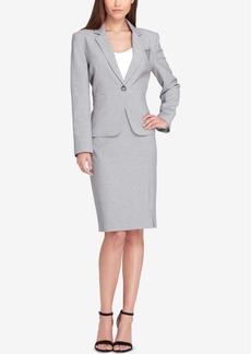 Tahari Asl Embellished One-Button Skirt Suit