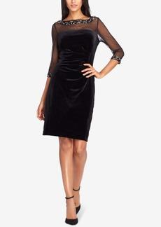 Tahari Asl Embellished Velvet Sheath Dress