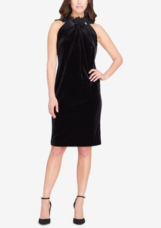 Tahari Asl Embellished Velvet Sheath Dress