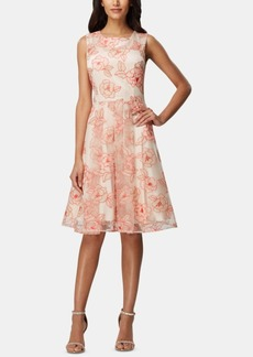 Tahari Asl Embroidered A-Line Dress