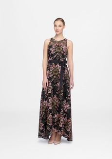 Tahari Asl Embroidered A-Line Gown
