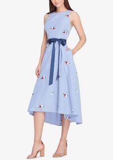Tahari Asl Embroidered Fit & Flare Midi Dress