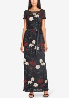 Tahari Asl Embroidered Lace Column Gown