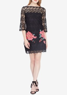 Tahari Asl Embroidered Lace Illusion Dress