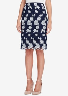 Tahari Asl Embroidered Mesh Skirt