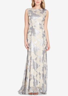 Tahari Asl Embroidered Metallic Gown