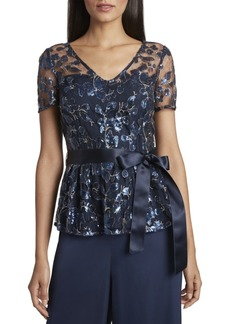 Tahari Asl Embroidered Sequin Top