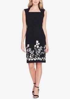 Tahari Asl Embroidered Square-Neck Sheath Dress