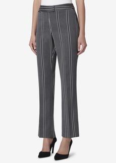 Tahari Asl Petite Extended-Tab Striped Straight-Leg Pants
