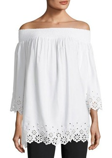 Tahari ASL Eyelet-Trim Off-the-Shoulder Blouse