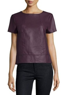 Tahari ASL Faux-Leather Short-Sleeve Top