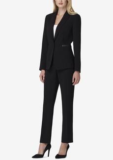 Tahari Asl Faux-Leather-Trim Black Pantsuit