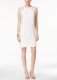 Tahari Asl Faux-Leather Trim Illusion Shift Dress