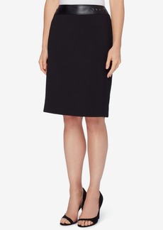 Tahari Asl Faux-Leather-Trim Pencil Skirt