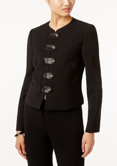 Tahari Asl Faux-Leather-Trim Snap-Front Blazer