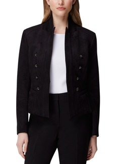 Tahari Asl Petite Faux-Suede Double-Breasted Blazer