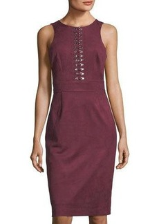 Tahari ASL Faux-Suede Dress With Hardware Detail