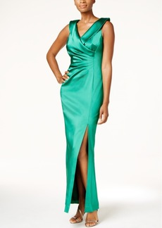 Tahari Asl Faux-Wrap Column Gown