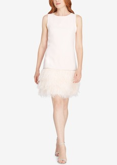 Tahari Asl Feather & Rhinestone-Trim Dress