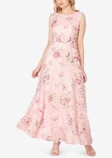 Tahari Asl Floral A-Line Gown