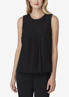 Tahari Asl Floral-Applique Pleated Blouse