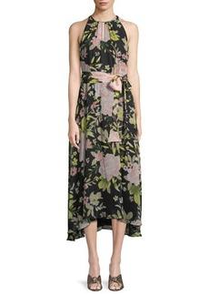 Tahari ASL Floral-Chiffon Keyhole Maxi Dress