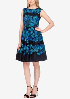 Tahari Asl Floral-Embroidered Fit & Flare Dress