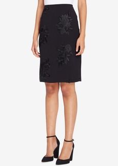 Tahari Asl Floral-Embroidered Pencil Skirt