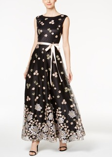 Tahari Asl Floral Embroidered Sash Gown