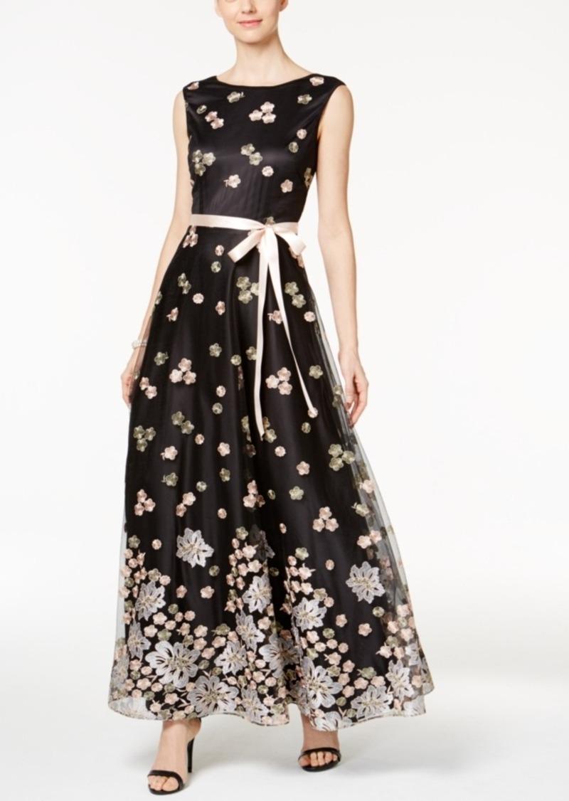 Tahari Tahari Asl Floral Embroidered Sash Gown   Dresses