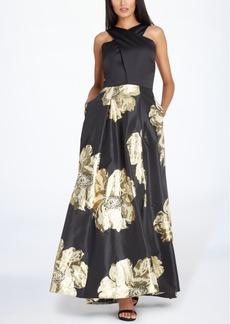 Tahari Asl Floral Halter Gown