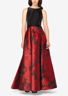 Tahari Asl Floral-Jacquard A-Line Gown