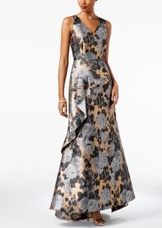 Tahari Asl Floral Jacquard Peplum Gown