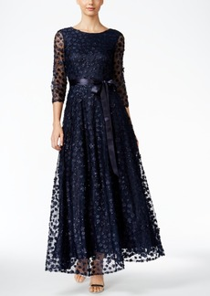 Tahari Asl Floral-Lace A-Line Gown