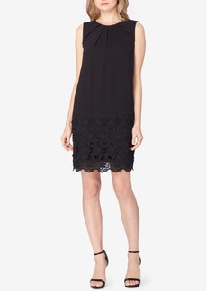 Tahari Asl Floral-Lace-Trim Shift Dress