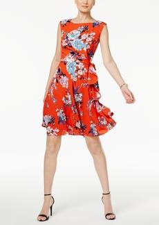 Tahari Asl Floral-Print A Line Dress