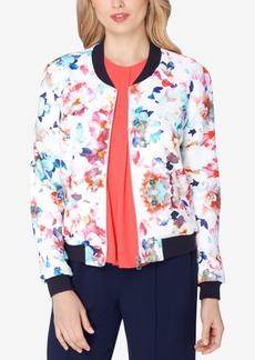 Tahari Asl Floral-Print Bomber Jacket