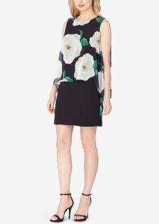Tahari Asl Floral-Print Capelet Sheath Dress