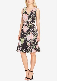 Tahari Asl Floral-Print Chiffon Fit & Flare Dress