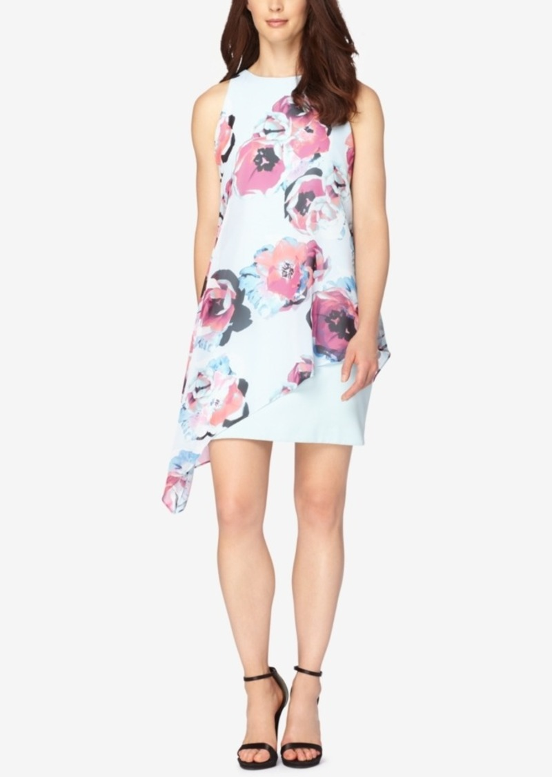 Tahari Asl Floral-Print Chiffon Overlay Shift Dress