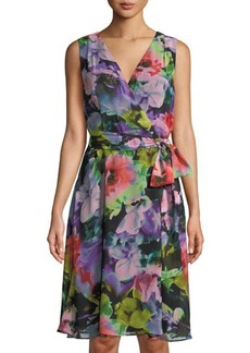 Tahari ASL Floral-Print Chiffon Wrap Dress