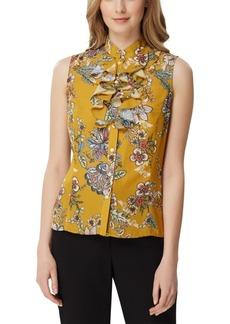 Tahari Asl Petite Floral-Print Ruffle-Neck Top