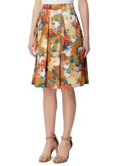 Tahari Asl Floral-Print Inverted-Pleat Skirt