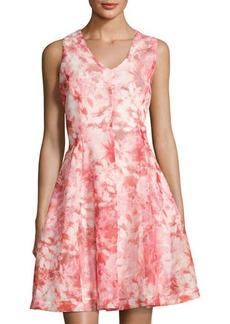 Tahari ASL Floral-Print Mesh-Overlay Dress