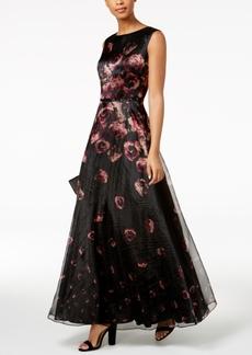 Tahari Asl Floral-Print Organza Gown