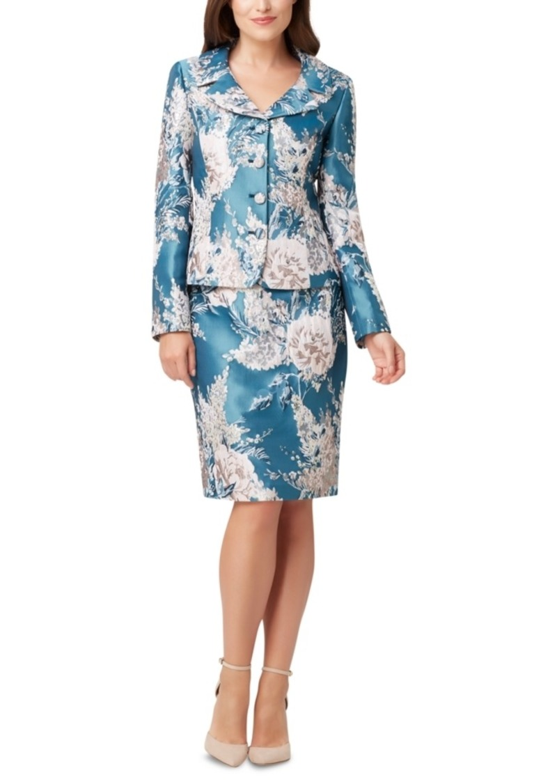 Tahari Asl Floral-Print Pencil-Skirt Suit